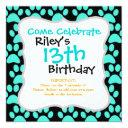 cute puppy dog paw prints teal blue black invitation