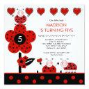 cute red & black ladybug birthday invitation
