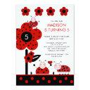cute red & black ladybugs birthday invitations