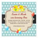 cute rubber ducky twins polka dots birthday invitation