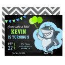 cute shark chalkboard kids birthday party invitation