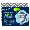 cute shark kids birthday party invitations