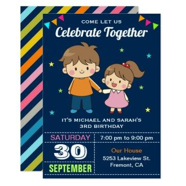 Cute Siblings Twin Birthday Party Invitation