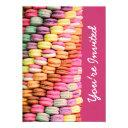 cute sweet macarons pink birthday party invitation
