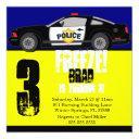 cute trendy police car birthday party invitations