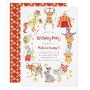 cute watercolor carnival circus animal birthday invitation