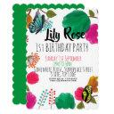 cute watercolor floral butterfly birthday invite
