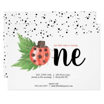 cute watercolor ladybug first birthday invitation