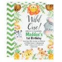 cute watercolor safari animals birthday invitation