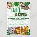 cute wild one jungle safari virtual first birthday invitation