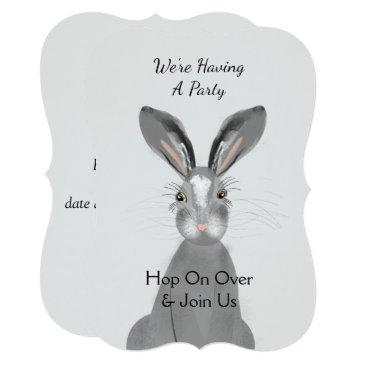 cute woodland animal bunny rabbit peronalized invitation