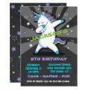dabbing boy unicorn birthday party invitation