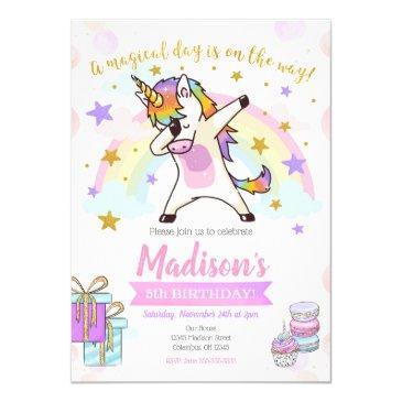 dabbing unicorn birthday invitations