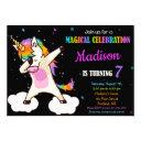dabbing unicorn birthday invitation magic party