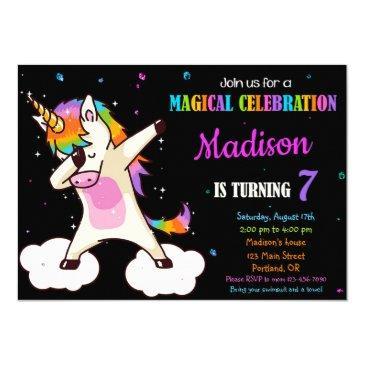 dabbing unicorn birthday invitation magic party