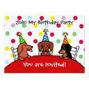 dachshund birthday cartoon party invitations