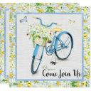 daises & blue bicycle birthday party invitation