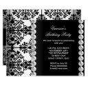 damask birthday party silver black white floral invitations
