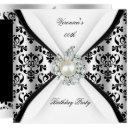 damask black white pearl diamond birthday party invitations
