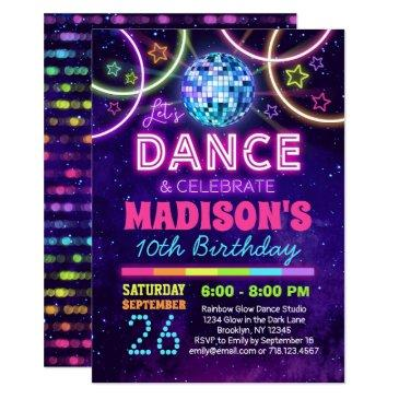 dance birthday girls neon disco dance party invitation