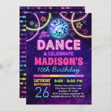 dance birthday girls neon disco dance party invitation