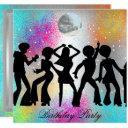 dance disco birthday party psychodelic invitation