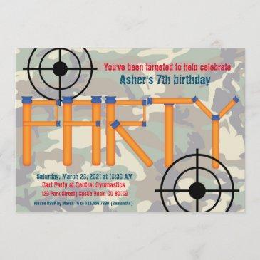 dart party birthday invitation
