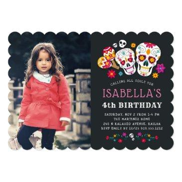 day of the dead theme birthday party photo invitations