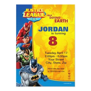 dc comics | justice league - birthday invitation