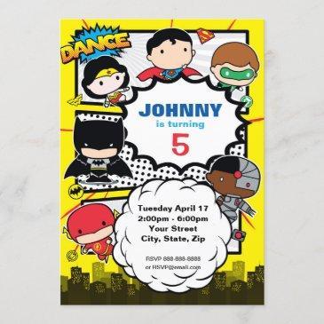 dc comics | justice league - chibi birthday invitation
