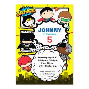 dc comics | justice league - chibi birthday invitation