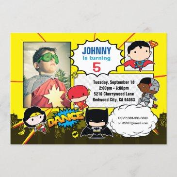 dc comics | justice league - chibi birthday photo invitation