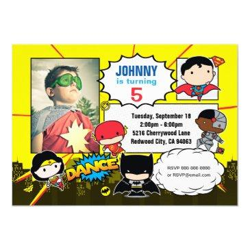 dc comics | justice league - chibi birthday photo invitation