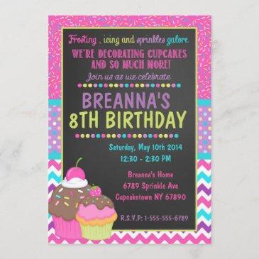 decorating cupcake party invitation