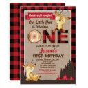 deer first birthday lumberjack party red flannel invitation