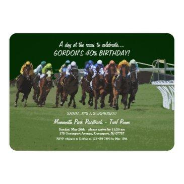 Small Derby Inspiration Birthday Horse Racing Invitation Front View