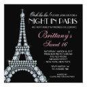 diamond eiffel tower custom sweet 16 invitation