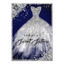 diamond lace sparkle gown navy silver sweet 16 invitations