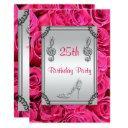 diamond music note, stiletto & pink roses 25th invitations