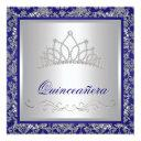 diamond tiara royal navy blue quinceanera invitation