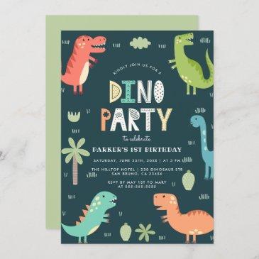 dino party   cute dinosaurs first birthday invitation