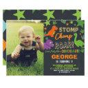 dinosaur 1st birthday party boy stomp chomp roar invitation