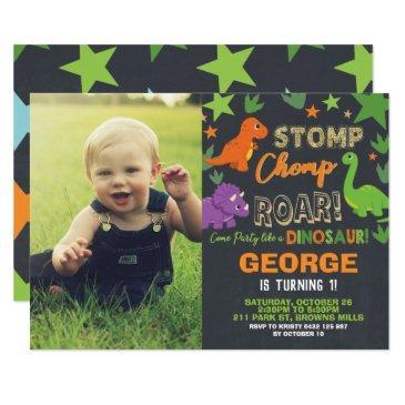 dinosaur 1st birthday party boy stomp chomp roar invitation