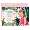 dinosaur birthday girl gold pink leave dino invite