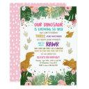 dinosaur birthday girl gold pink leaves party dino invitation