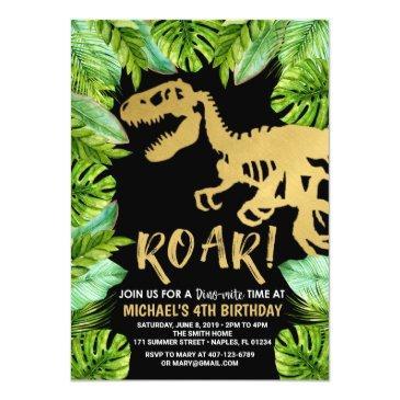 Small Dinosaur Birthday Invitation Roar Dino Party Boy Front View