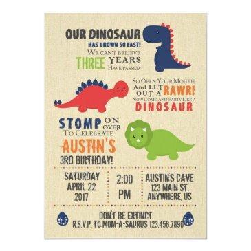 Small Dinosaur Birthday Invitations Front View