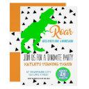 dinosaur birthday kids invitations neon green