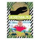 dinosaur birthday party photo invitation
