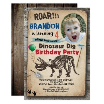 dinosaur birthday photo invitation realistic